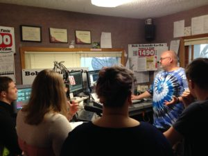 Students visiting a radio station